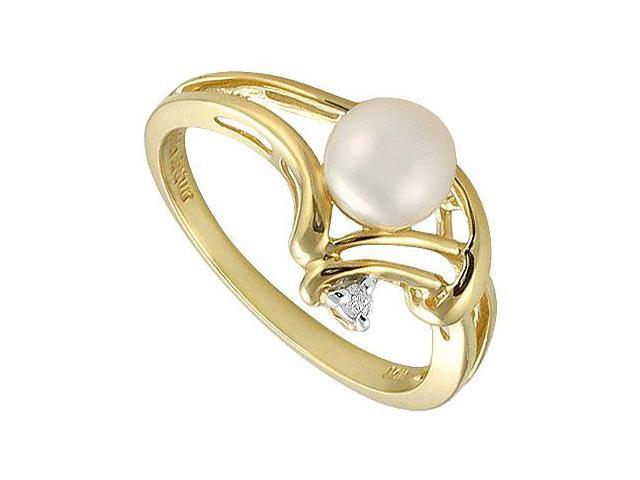 Cultured Pearl and Diamond Ring  14K Yellow Gold - 0.02 CT Diamonds