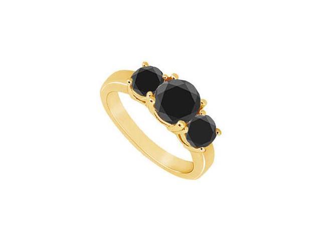 14K Yellow Gold  Round Prong Set Black Diamond Three Stone Ring  0.50 CT TDW