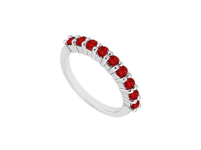 Ruby Wedding Band  14K White Gold - 1.00 CT TGW