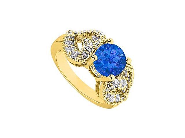Fashion Simulated sapphire Ring with Heart CZ Side in 14K Yellow Gold Totaling 2.50 Carat