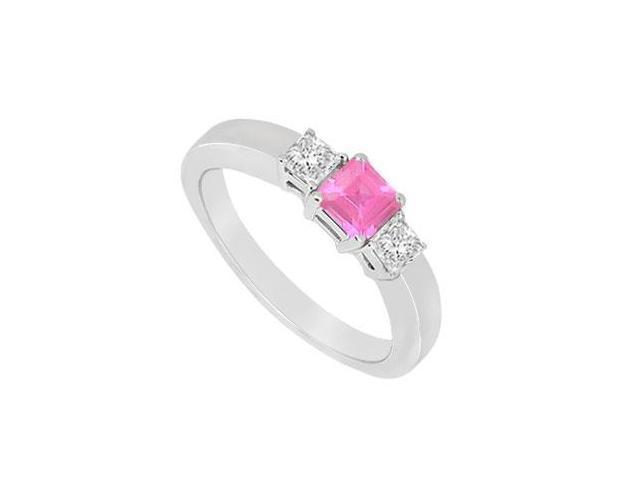 Three Stone Pink Sapphire and Diamond Ring  14K White Gold - 0.75 CT TGW