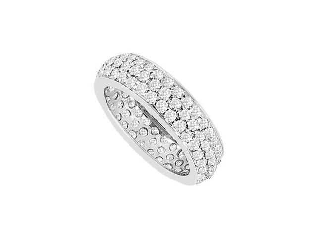 Diamond Pave Triple Row Eternity Wedding Band in 14K White Gold 1.75 Carat Diamonds