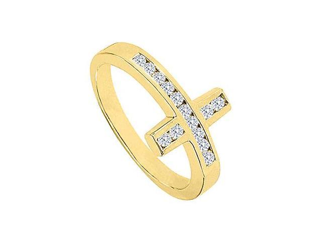 Diamond Sideways Cross Ring in 14K Yellow Gold 0.33 Carat Diamonds