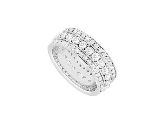Two Carat Diamond Triple Row Eternity Wedding Ring in White Gold 14K