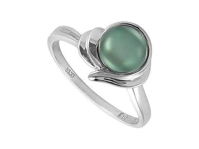 Cultured Black Pearl Ring  14K White Gold