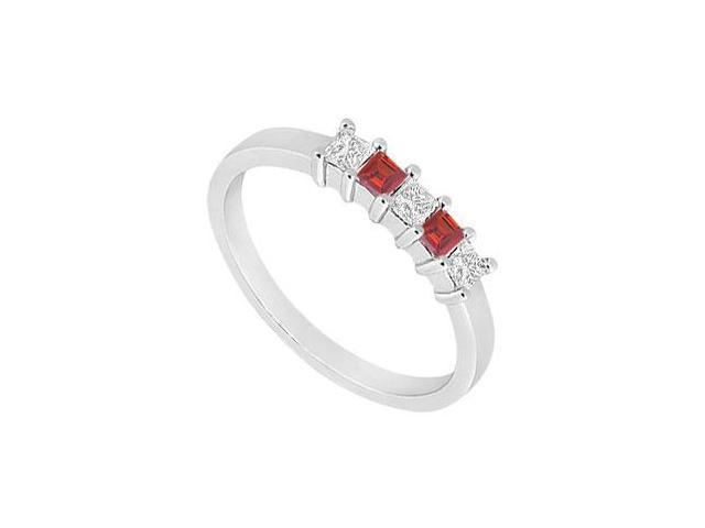 Ruby and Diamond Wedding Band  14K White Gold - 1.00 CT TGW