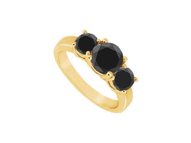 14K Yellow Gold  Round Prong Set Black Diamond Three Stone Ring  1.50 CT TDW