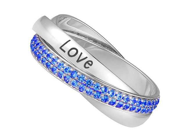 Trinity Ring Intertwined Polished 14K White Gold Band 2 Carat Sapphire and Love Engrave Band