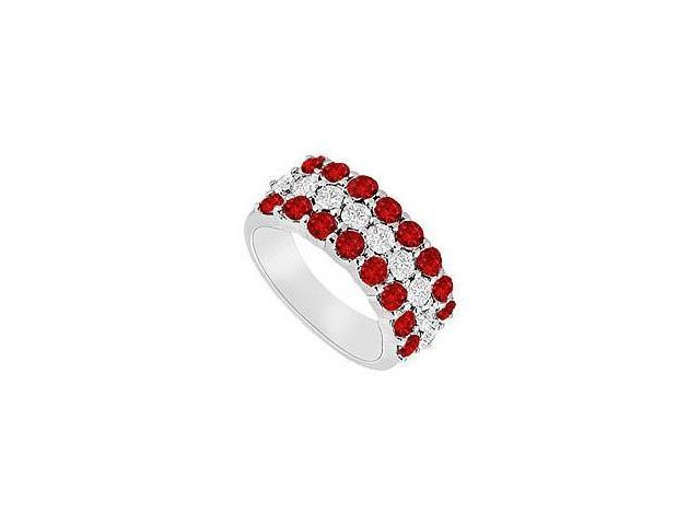 Ruby and Diamond Wedding Band  14K White Gold - 1.25 CT TGW