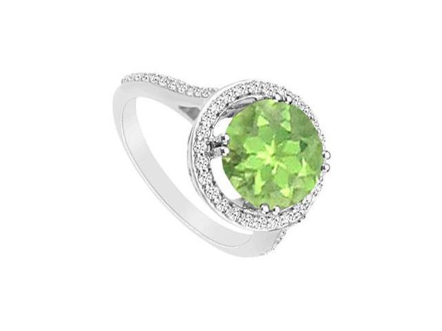 Peridot and Diamond Ring  14K White Gold - 1.25 CT TGW