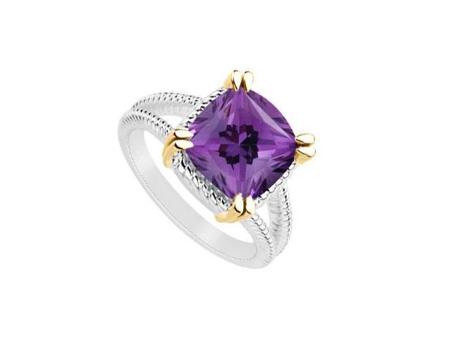 Amethyst ring of 6 carat total gem weight in 14k white gold with split prong yellow gold vermeil