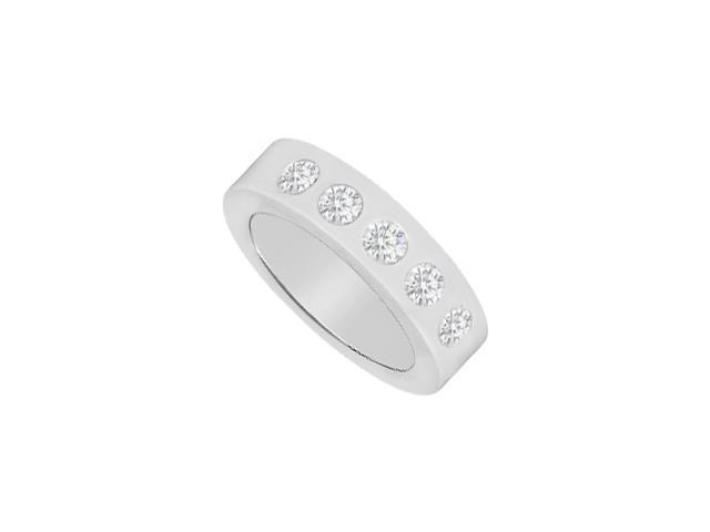 Diamond Wedding Band 5 Stone Bezel Setting in 14K white Gold 0.50 Carat Diamonds
