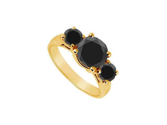 14K Yellow Gold  Round Prong Set Black Diamond Three Stone Ring  2.00 CT TDW
