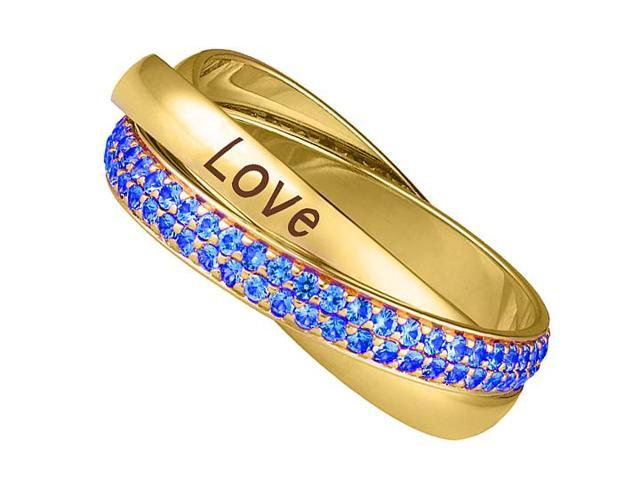Trinity Ring Intertwined Polished 14K Yellow Gold Band 2 Carat Sapphire and Love Engrave Band