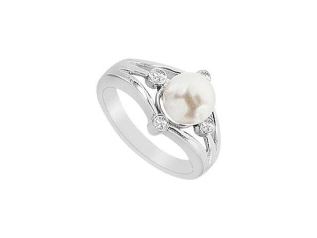 Cultured White Akoya Pearl and Diamond Ring  14K White Gold - 0.15 CT Diamonds