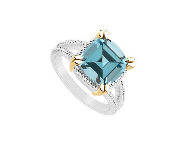 Created aquamarine ring of 6 carat total gem weight in 14k white gold with yellow gold Vermeil