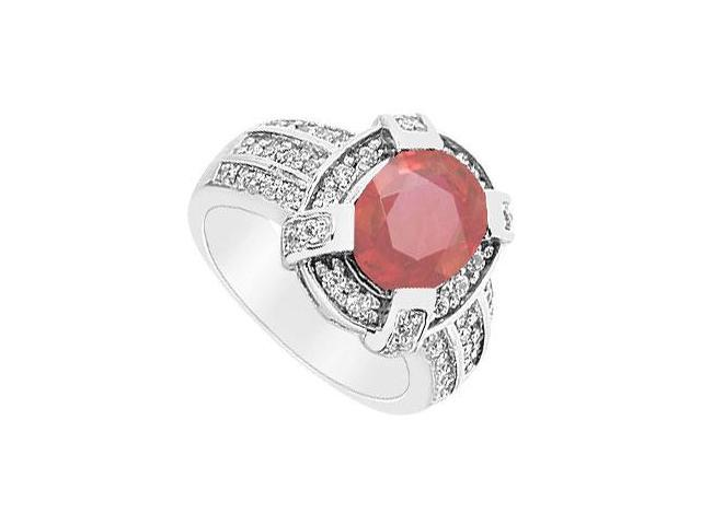 Ruby and Diamond Ring  14K White Gold - 3.75 CT TGW