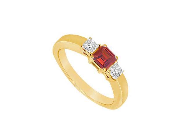 Three Stone Ruby and Diamond Ring  14K Yellow Gold - 0.75 CT TGW