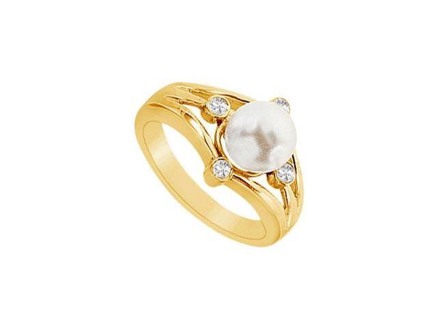 Cultured White Akoya Pearl and Diamond Ring  14K Yellow Gold - 0.15 CT Diamonds
