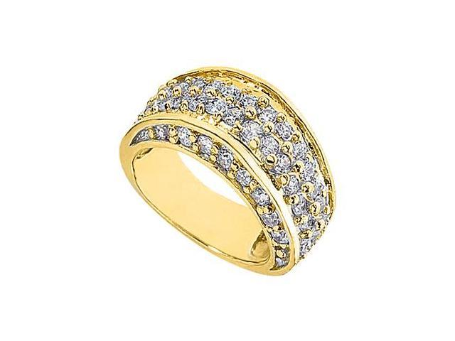 14K Yellow Gold Pave Diamond Fashion Ring with 1.75 Carat Diamonds