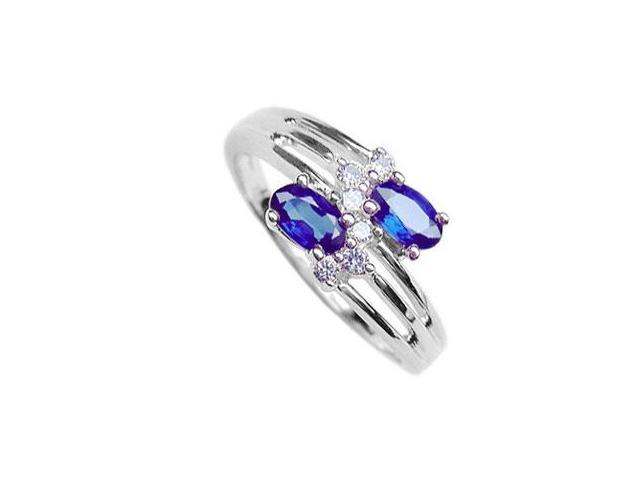 Blue Sapphire and Diamond Ring  14K White Gold - 2.00 CT TGW