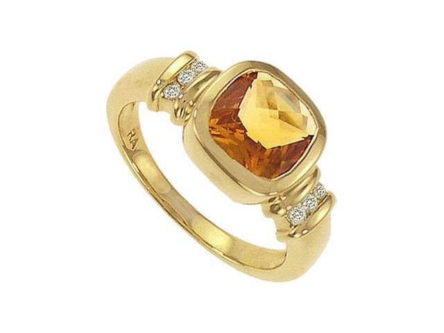 Citrine and Diamond Ring  14K Yellow Gold - 2.25 CT TGW