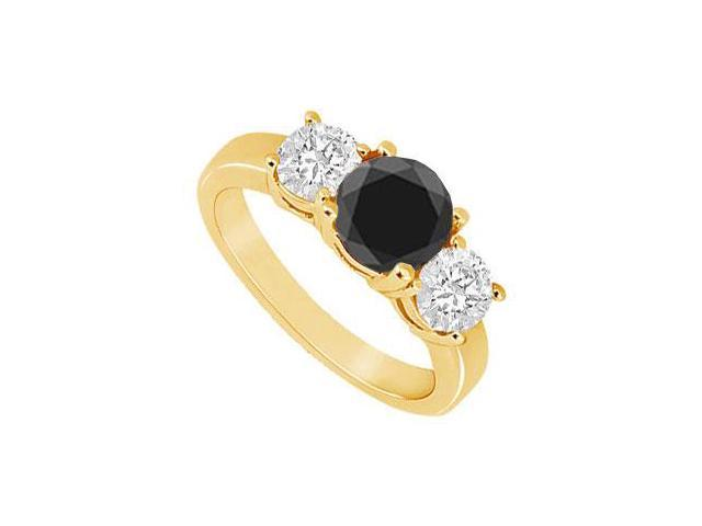 14K Yellow Gold  Round Prong Set Black and White Diamond Three Stone Ring  1.50 CT TDW