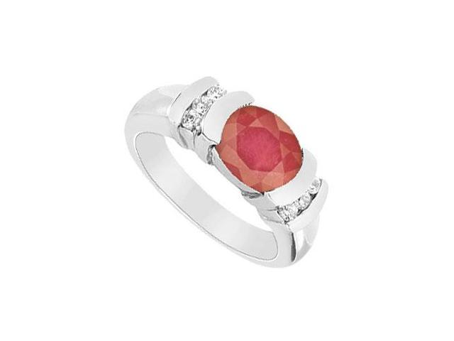 Ruby and Diamond Ring  14K White Gold - 3.25 CT TGW