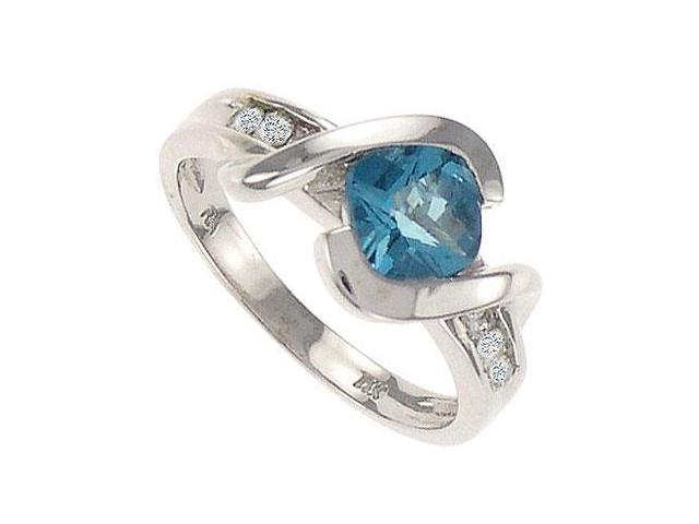 Blue Topaz and Diamond Ring  14K White Gold - 1.75 CT TGW