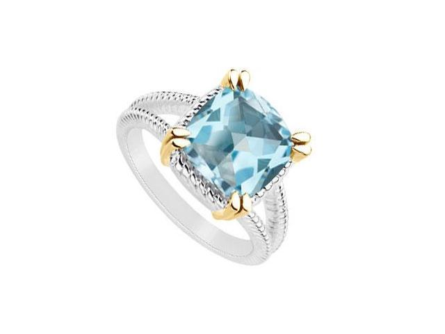 Created blue topaz ring of 6 carat total gem weight in 14k white gold with yellow gold vermeil