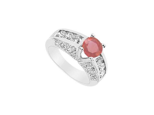 Ruby and Diamond Ring  14K White Gold - 2.75 CT TGW