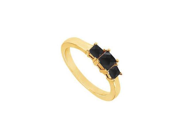 14K Yellow Gold  Princess Prong Set Black Diamond Three Stone Ring  1.00 CT TDW