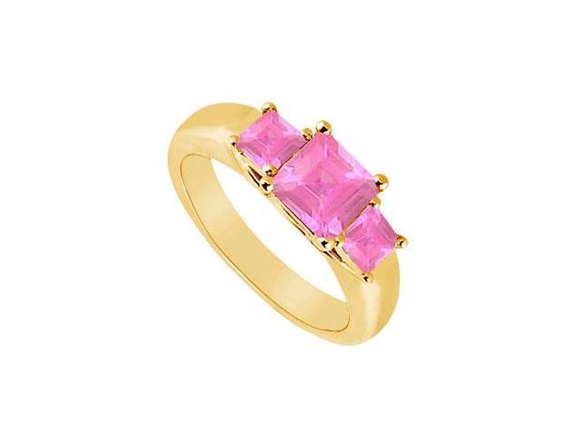 Three Stone Pink Sapphire Ring  14K Yellow Gold - 0.50 CT TGW