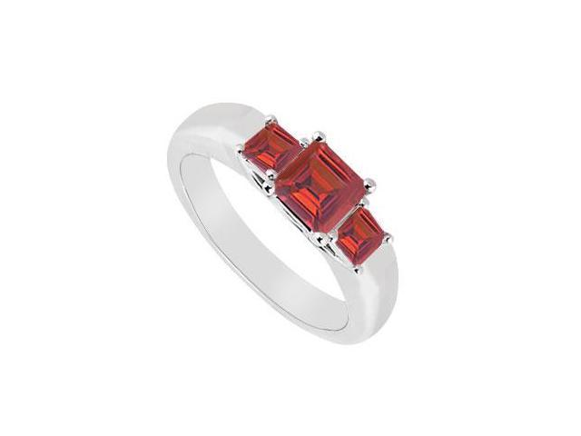 Three Stone Ruby Ring  14K White Gold - 0.33 CT TGW