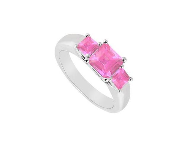 Three Stone Pink Sapphire Ring  14K White Gold - 0.50 CT TGW