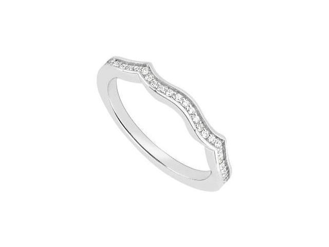 14K White Gold Diamond Wedding Band 0.15 Carat Diamonds