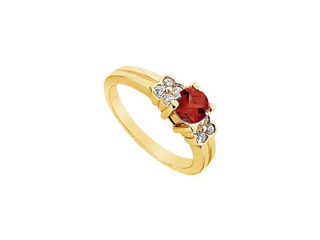 Ruby and Diamond Ring  14K Yellow Gold - 0.75 CT TGW
