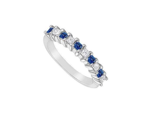 Sapphire and Diamond Ring  14K White Gold - 0.50 CT TGW
