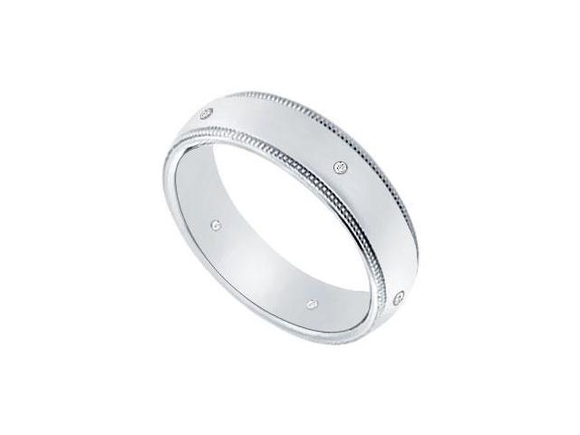 5MM Milgrain Wedding Band with Diamonds  Platinum - 0.05 CT TDW