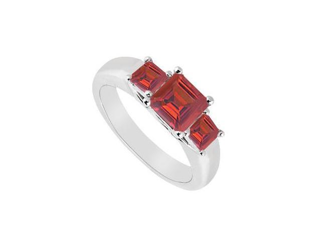 Three Stone Ruby Ring  14K White Gold - 0.50 CT TGW