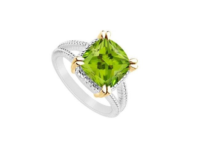 Peridot ring of 6 carat total gem weight in 14k white gold with split prong yellow gold vermeil