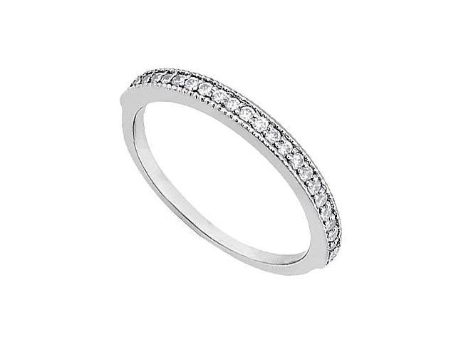 Diamond Wedding Ring in 14K White Gold Milgrain of 0.25 Carat Diamonds