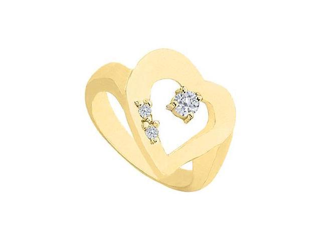 Heart Diamond Ring in 14K Yellow Gold 0.33 Carat Diamonds