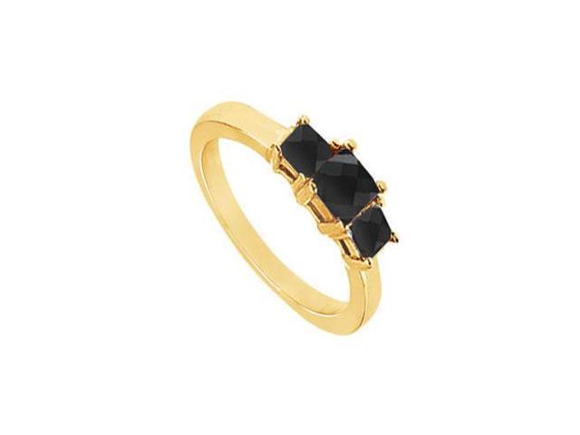 14K Yellow Gold  Princess Prong Set Black Diamond Three Stone Ring  2.00 CT TDW