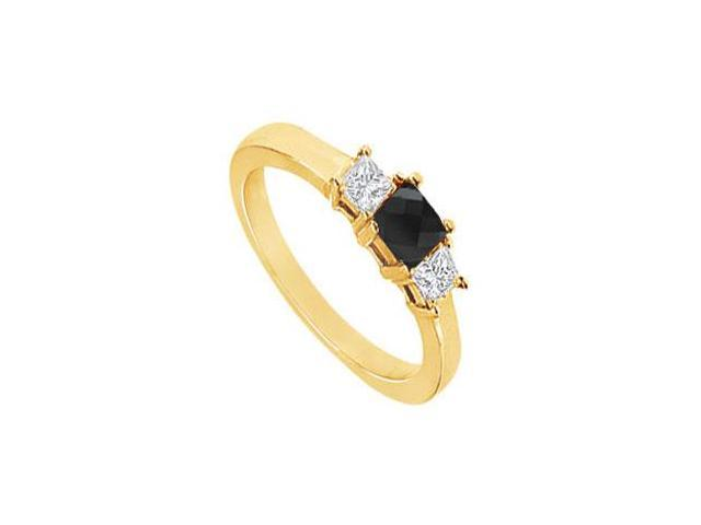 14K Yellow Gold  Princess Prong Set Black and White Diamond Three Stone Ring  1.50 CT TDW