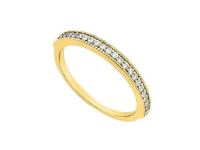 Diamond Wedding Ring in 14K Yellow Gold Milgrain of 0.25 Carat Diamonds