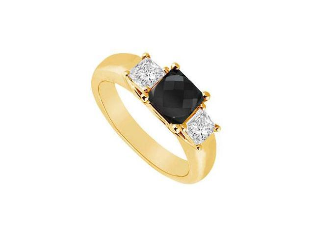 14K Yellow Gold  Princess Prong Set Black and White Diamond Three Stone Ring  0.50 CT TDW