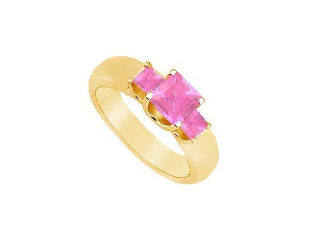 Three Stone Pink Sapphire Ring  14K Yellow Gold - 0.75 CT TGW