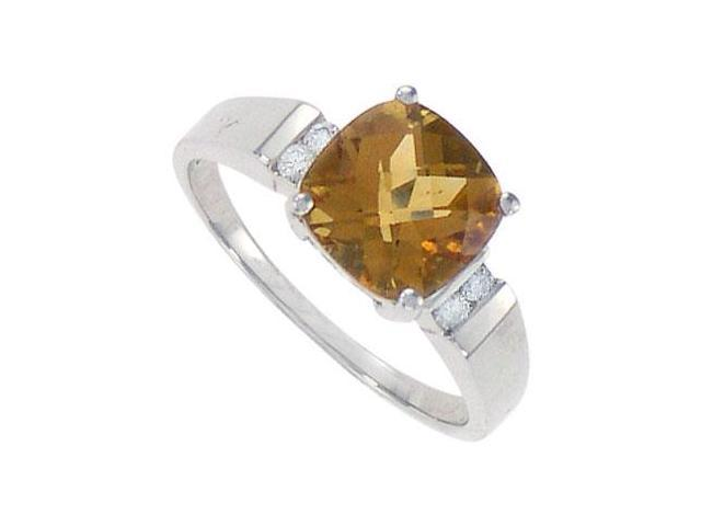 Citrine and Diamond Ring  14K White Gold - 2.33 CT TGW
