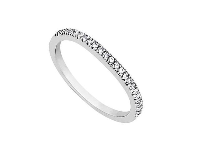 14K White Gold Half Band Diamond Wedding Ring of 0.20 Carat Diamonds
